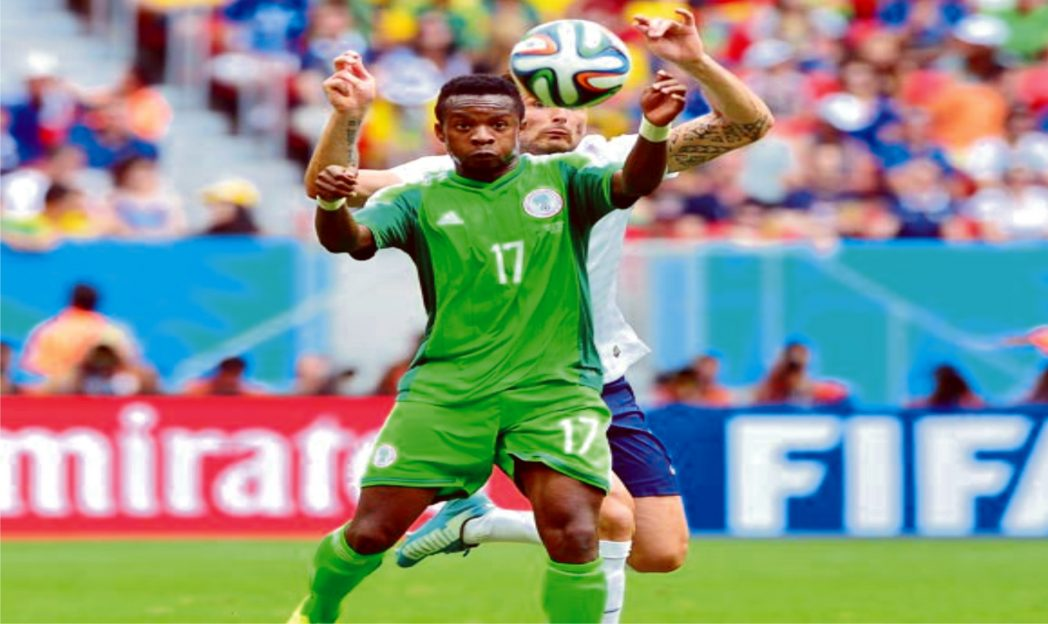 Super Eagles midfielder Ogenyi Onazi (17) in action at the last World Cup in Brazil
