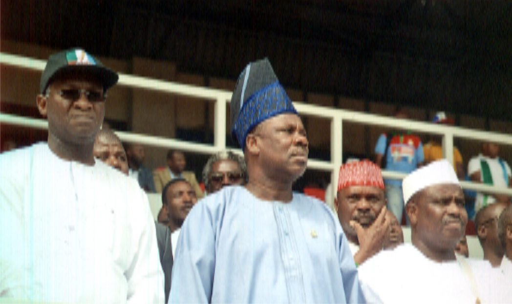 Speaker of House of Representatives, Alhaji Aminubello Tambuwal (right) with Ogun State Governor, Senator Amoseun Ibikunle and his Lagos State counterpart, Alhaji Fashola, during the APC presidential rally in Port Harcourt, recently.