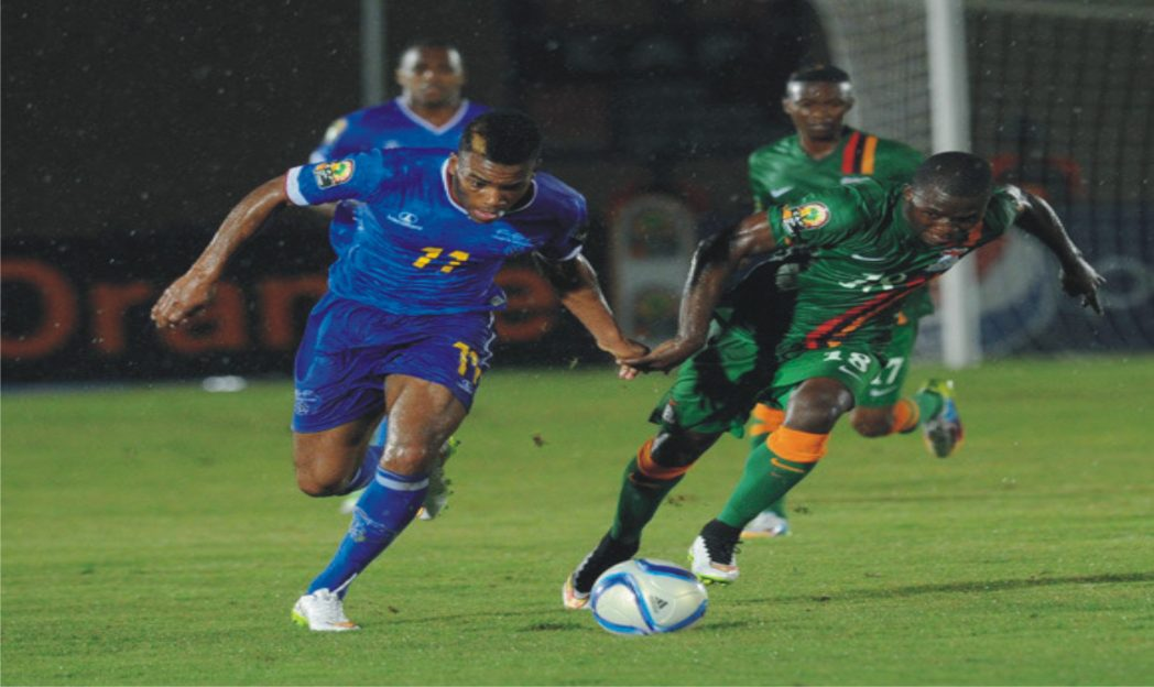 Action between Zambia and Cape Verde during thier final group match at the ongoing 2015 AFCON on Monday.