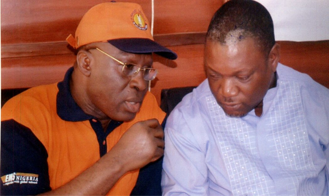 General Manager, EMS Nigeria, Mr Osadolar Eboigbodin (left) conferring with PHCCIMA Financial Secretary, Mr Prince A. Ogidigben, during PHCCIMA council meeting in Port Harcourt, recently.        Photo: Nwiueh Donatus Ken