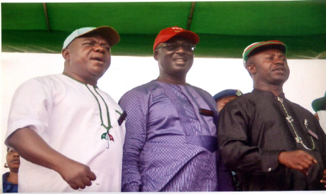 L-R: Former Deputy Speaker, House of Representatives, Hon Austine Opara, former Deputy Speaker ,House Representatives, Hon Chibudum Nwuche and Minister of Sports,  Hon Tammy Danagogo during the PDP Campaign in Rivers State.                                                                                                                                     Photo: Chris Monyanaga