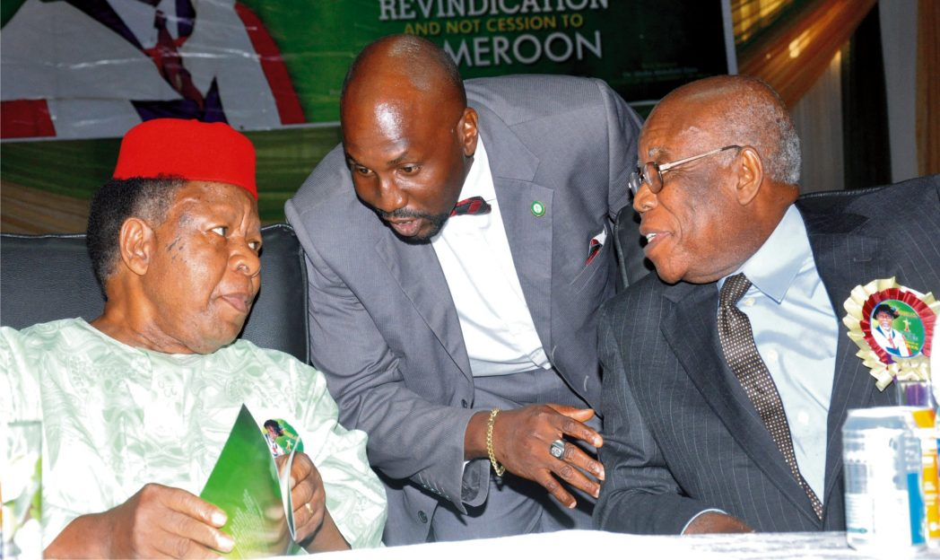 Former Director-General, Federal Capital Territory, Chief Gordian Oranika (left), discussing with the son of late Prof. Chukwurah Anthony, at the First Memorial Lecture and Posthumous Book Presentation of Prof. Cukwurah  in Abuja recently. With them is the Chairman of the occasion, former Vice Chancellor, Imo State University, Prof. Michael Echeruo.
