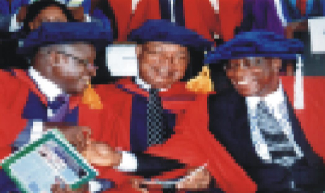 L-R: Dean of Faculty of Management Sciences, UST, Prof. A. J. Toby, Dean, Faculty of Science, Prof. I. K. E. Ekweozor with Dean, Faculty of Tech & Science Education, UST, Prof M. J. Ahiakwo during 2014/2015 matriculation of RSUST recently.            Photo: Egberi A. Sampson