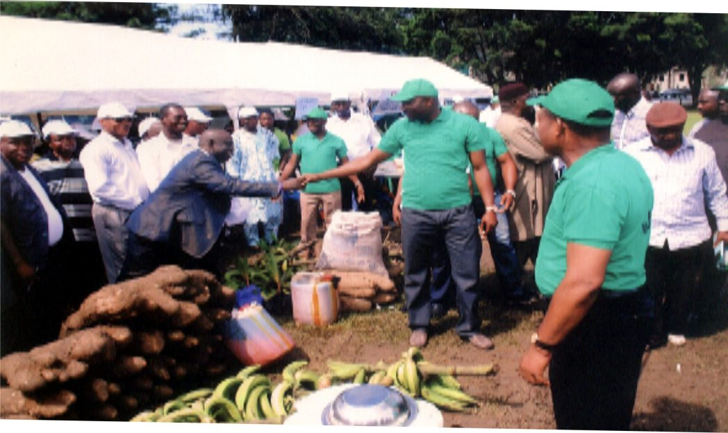 Rivers State Commissioner for Agriculture, Hon Emmanuel Chindah (middle) inspecting food stock, during World Food Day celebration. With him is Permanent Secretary of the ministry, Emmanuel Alex Hart and other officials.           Photo: Prince Obinna Dele