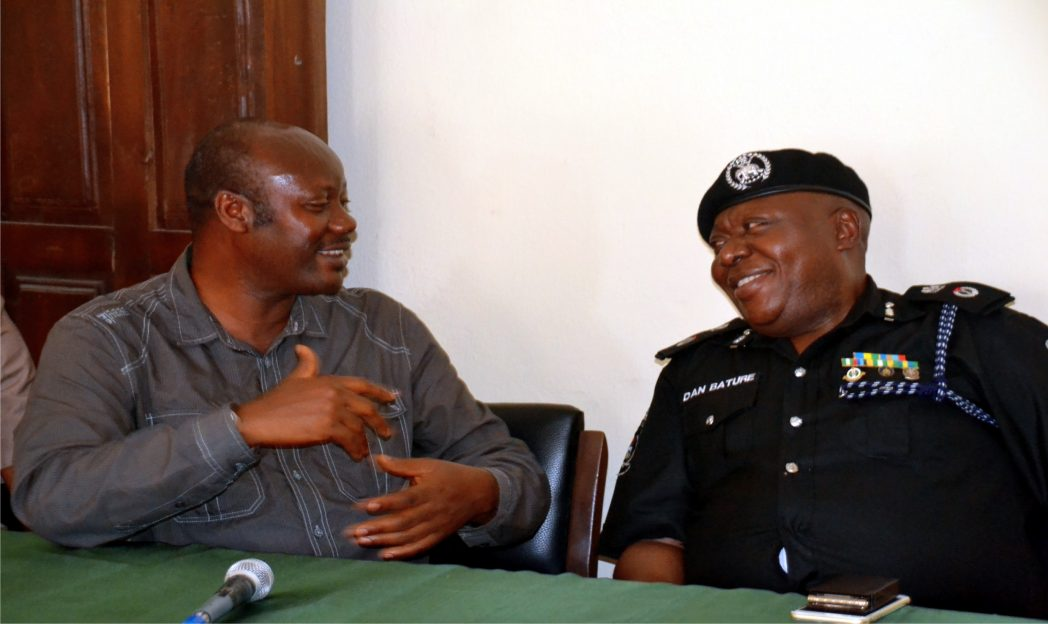Mr Opaka Dokubo, (left) Chairman, Nigeria Union of Journalists Rivers State Council explaining a point to Dan Bature, Commissioner of Police Rivers State Command, during a courtesy visit to the State Council of the union.       Photo: Ibioye Diama