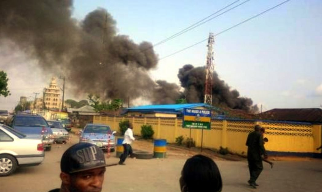 Billowing inferno at the scene of the tanker explosion at Central Police Station Barracks in Port Harcourt, yesterday