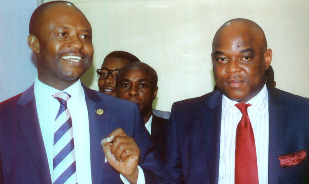 Minister of Sport, Hon. Tammy Danagogo (left) with president Market Place Apostles and organiser IC BEC 2014, Pastor Uche Onoche (right) during the 4th International Christian Business exhibition and Conference, IC-BEC 2014 at Atrium along Stadium Raod Port Harcourt recently.              Photo: Egberi A. Sampson