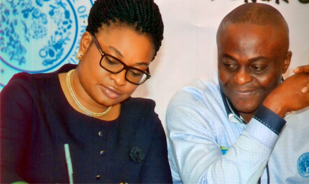 Director of Publications, Ministry of Information and Communications, Mr Paulinus Nsirim (right), with Chief Operating Officer, Neomantra Ltd, during a press conference for the 2nd Port Harcourt International Fashion Week, in Port Harcourt, recently.Photo: Chris Monyanaga