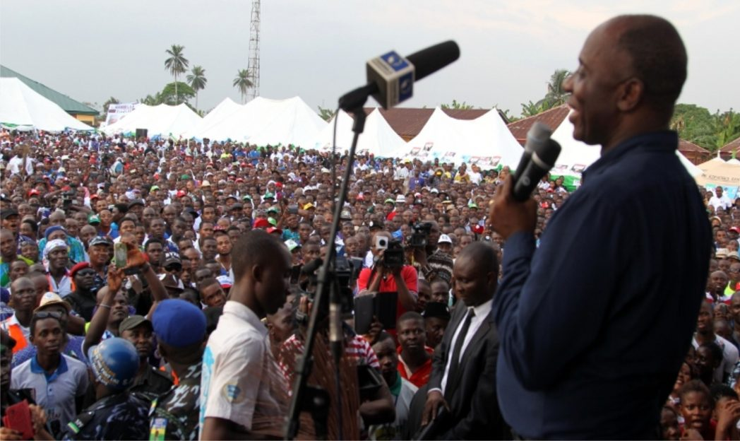 Rivers State Governor, Chibuike Amaechi addressing supporters, during the APC governorship campaign rally at Isiokpo, headquarters of Ikwerre LGA, last Friday