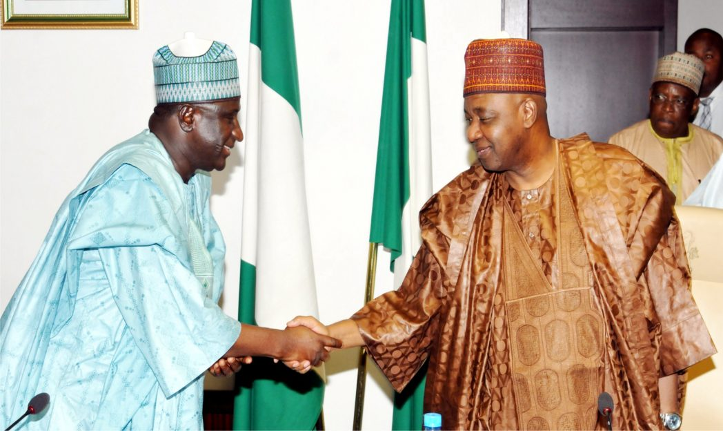 Vice President Namadi Sambo (right), with Minister of Transport, Senator  Idris Umar, at the   meeting on Kaduna Power Plant,  GE  rock  substation  fuel storage,  railway-all  stakeholders,  at the Presidential Villa in Abuja, recently.