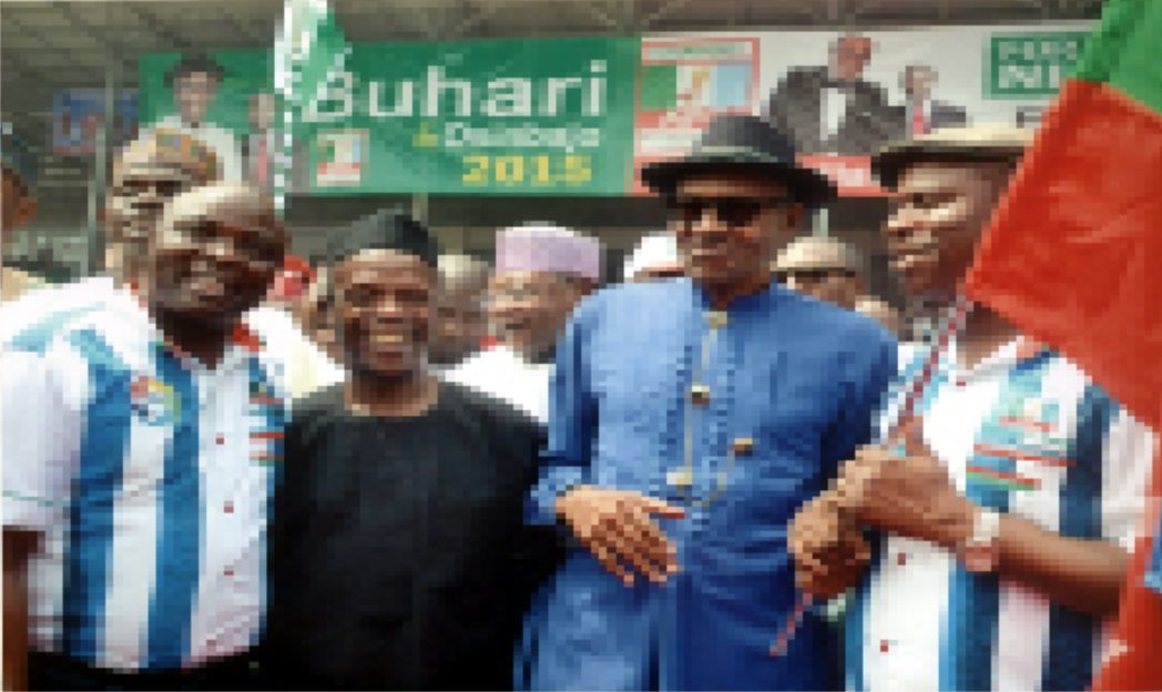 General Muhamadu (2nd right) APC Presidential flagbearer and his running mate, Prof. Yemi Osinbajo, flanked by the Rivers State Governorship flagbearer of the party, Dr Dakuku Peterside and his running mate, Hon. Asita Honourable at the APC Presidential rally held recently in Port Harcourt.   Photo: Ibioye Diama