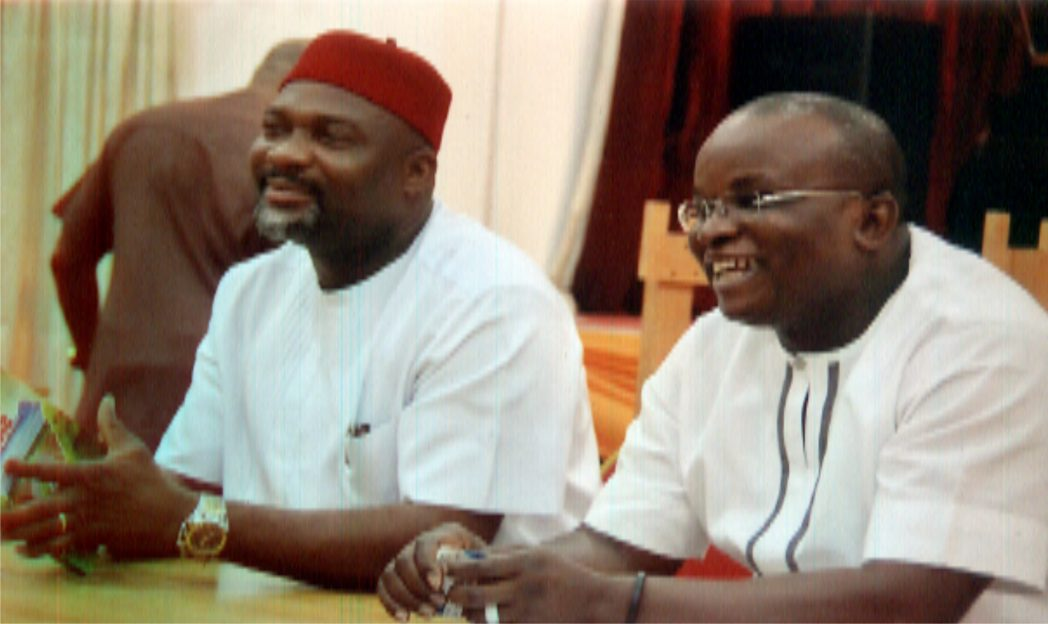 Leader of Rivers State House of Assembly, Hon. Chidi Lloyd (left) with House member, Hon John Olu, during a press briefing shortly after the 2015 Appropriation Bill presentation on the floor of the House, recently.