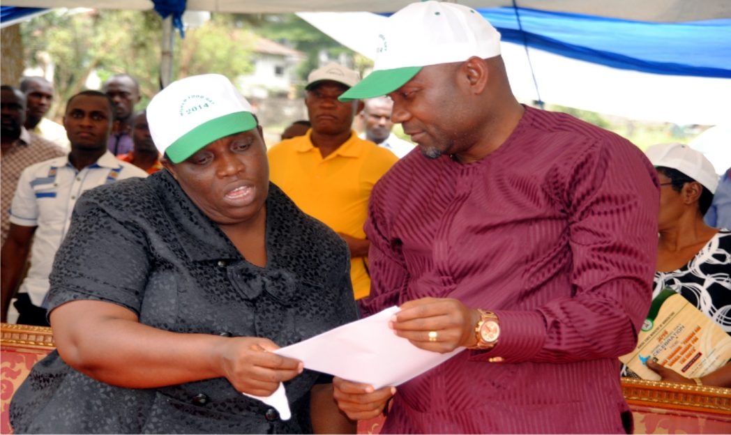 Rivers State Commissioner for Agriculture, Emmanuel Chindah (right) with Permanent Secretary of the ministry, Mrs Otonyetarie Okoye during the 2014 World Food Day celebration in Port Harcourt.