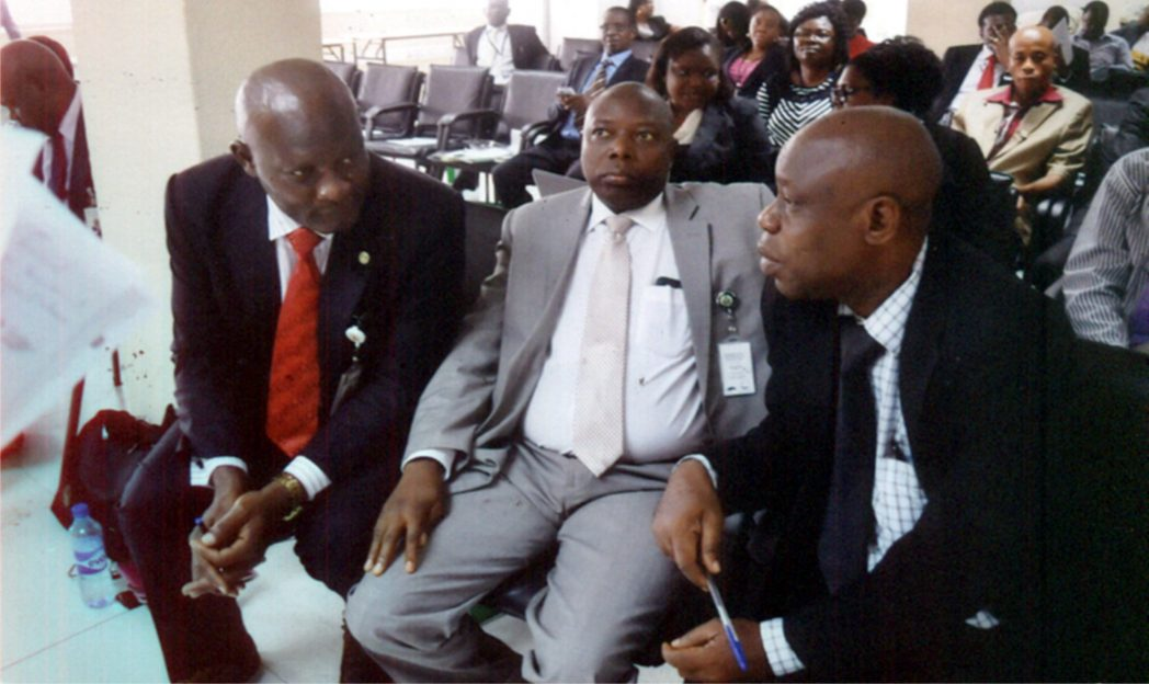Assistant Director, Development Finance Department of the Central Bank of Nigeria, Mr Babatunde Ogunlaja (left) with Assistant Director, Banking and Payments, Mr Samuel Agboola (middle) and Manager, NAICOM, Port Harcourt, Mr Emmanuel Ndukuba, during a workshop on Financial Inclusion, organised by CBN, in Port Harcourt, recently.