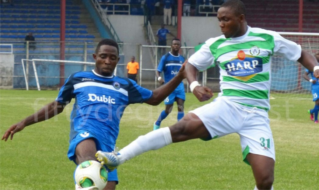 A Glo Premier League action between Dolphins FC of Port Harcourt and Enyimba International of Aba. All clubs are expected to register their players with League Management Company by February 20