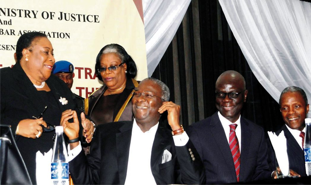 L-R: Lagos Chief Judge, Justice Ayotunde Phillips, Head Judge, Lagos Judiciary, Justice Funmilayo Atilade; Governor Babatunde Fashola of Lagos; Lagos State Commissioner for Justice and Attorney General,  Mr  Ade Ipaye and  Former Lagos Commissioner for Justice and Attorney General, Prof. Yemi Osibajo, at a Conference on  delay in Justice Administration  in Lagos recently.