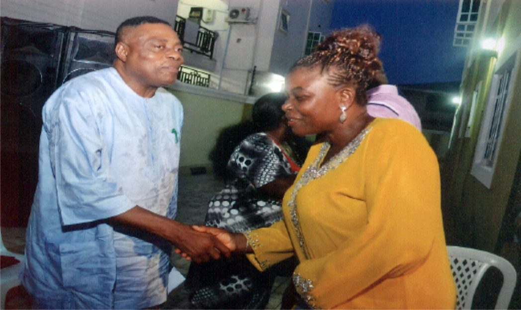 Permanent Secretary, Ministry of Commerce and Industry, Ms Kadilo Brown (right), welcoming former Chairman, RSIEC, Prof Nimi Briggs to the Service of Songs in honour of her late mother, Elder Margaret Brown Kosu at Eagle Island, Port Harcourt, recently.Photo: Chris Monyanaga
