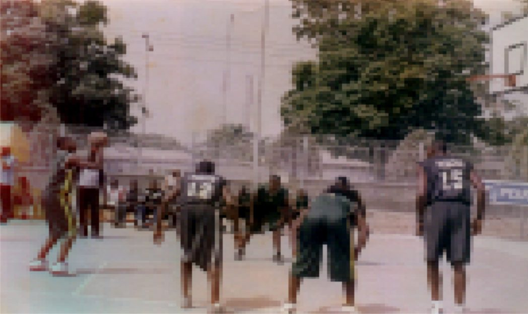 Basketball players battling for glory during a recent national meet.