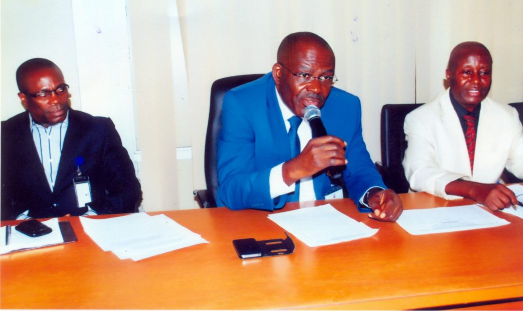 Rivers State Head of Service, Barr Samuel LongJohn (middle), addressing newly appointed Permanent Secretaries in Port Harcourt, recently . With him are Emmanuel Urang (left) and Mr Lambert Ekwueme.
