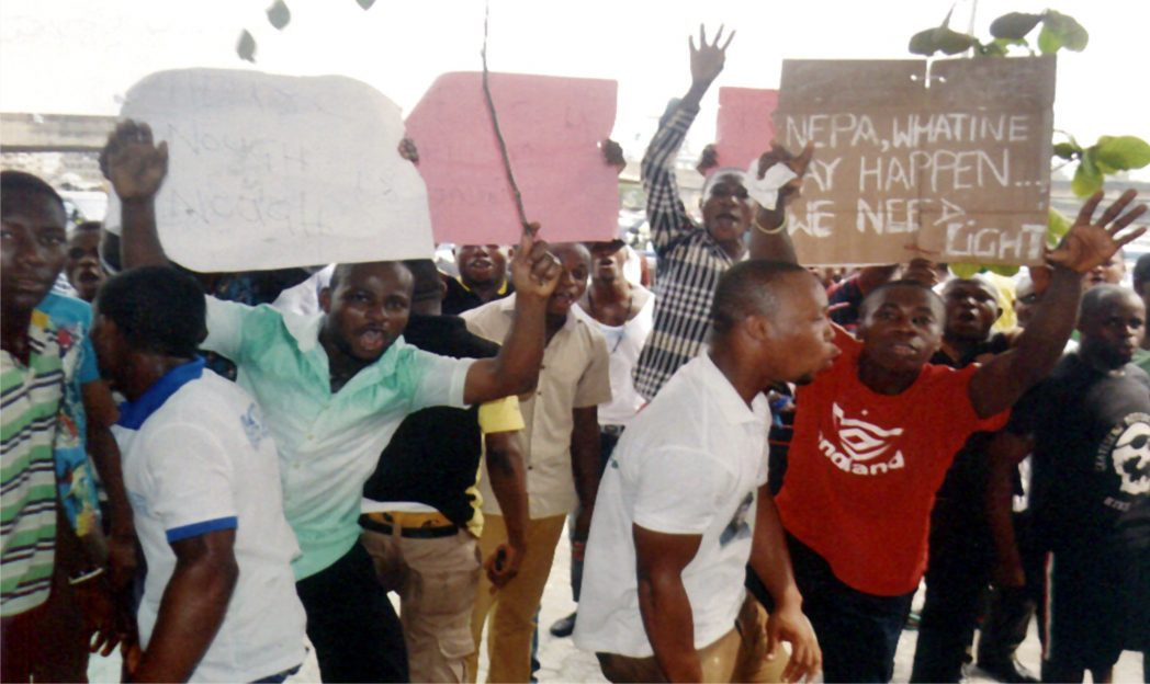 Residents of  Diobu protesting at Port Harcourt Electricity Distribution, station  over poor power supply and high bills last  Wednesday