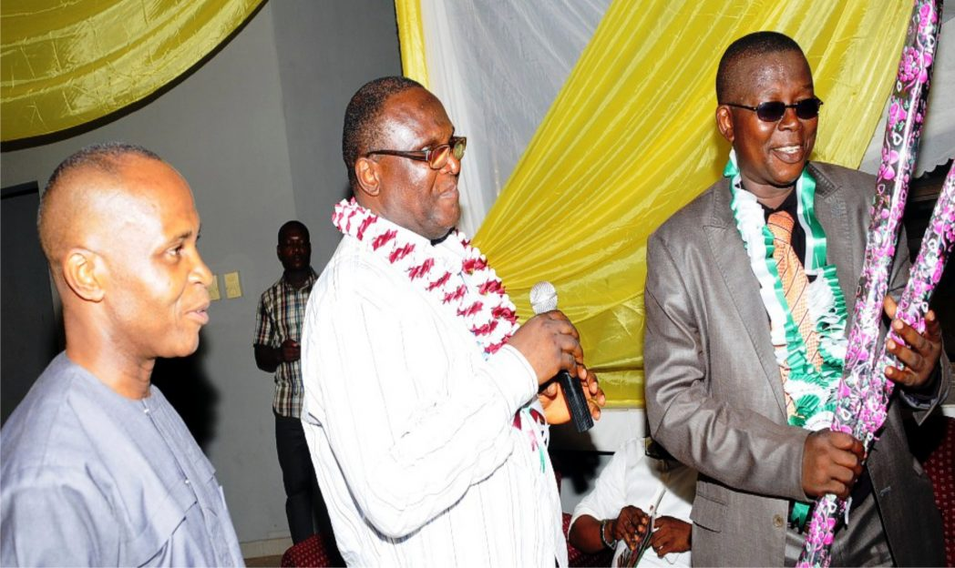 L-R:  Director-General, Enugu Chamber of Commerce, Industry, Mines and Agriculture (Eccima), Sir Emeka Okereke, Vice President, Works, Eccima, Mr Nonye Osakwe, and Ebonyi State Commissioner for Commerce, Dr Ifeanyi Ikeh, during a reception for Ebonyi State for participating in the 25th Enugu International Trade Fair, recently.