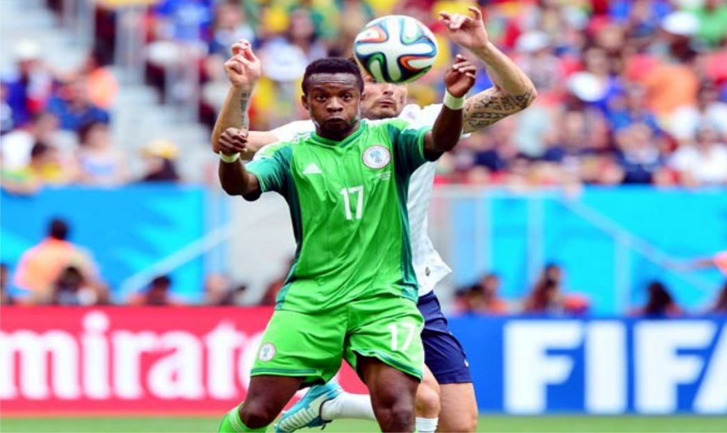 Super Eagles Ogenyi Onazi (17) shielding an opponent from the ball at the last World Cup