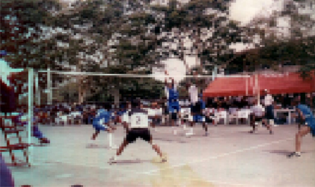 Volleyballers showing off their skills in a national competition