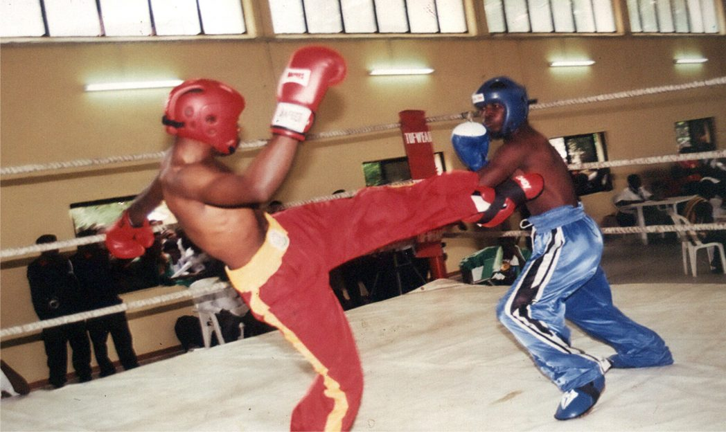 Kickboxers competing for medals during a previous National Sports festival.