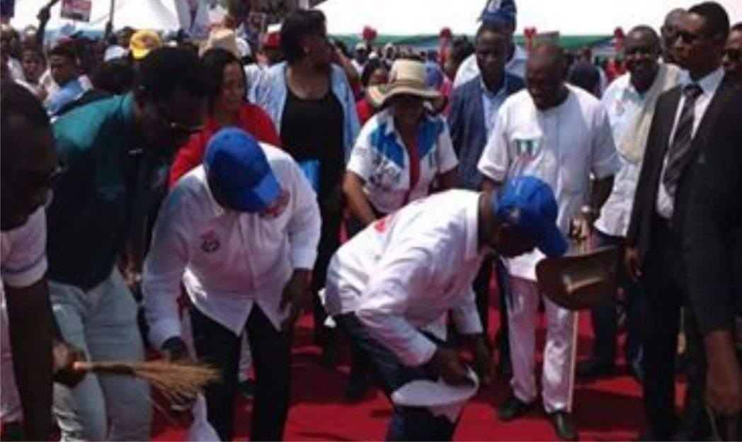 Rivers  APC governorship candidate, Dr Dakuku Peterside and his running mate, Barr Honourable Asita dancing during a campaign rally in the state, recently.