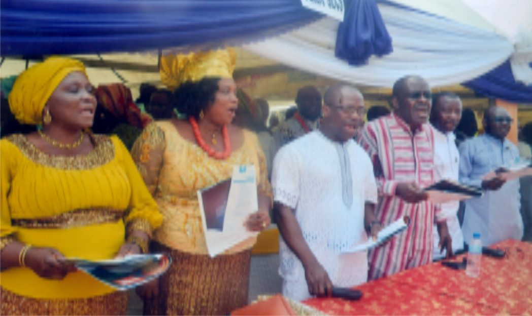 Cross section of Permanent Secretaries singing  at the funeral service in honour of Late Elder Margaret Brown Kosu, mother of Permanent Secretary, Ministry of  Commerce and Industry, Rivers State,  Ms Kadilo Brown in Kaiama, Kolokuma/Opokuma LGA of Bayelsa State recently. With them is the Head of Service, Rivers State, Barr Samuel LongJohn (3rd right)