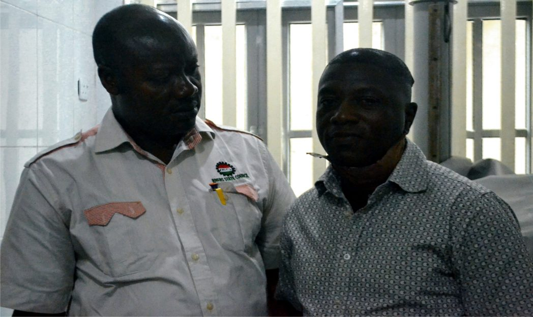 Chairman, Rivers State Council, NUJ, Mr Opaka Dokubo (left) at St Martin Hospital to sympathise with Channel Television correspondent, Mr Charles Erukaa, a victim of the attack on APC rally at Okrika in Rivers State.      Photo: Nwiueh Donatus Ken