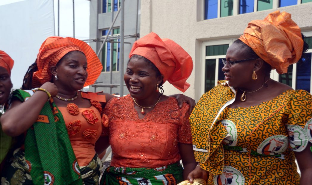Mrs Tina Idoku (left), National Vice-Chairman, Nawoj, South-South, flanked by Mrs Lilian Okonkwo, Rivers State Chairman of the association and Mrs Calista Ezeaku, vice chairman, at the thanksgiving service of the Rivers State chapter of the body  in PH, recently.