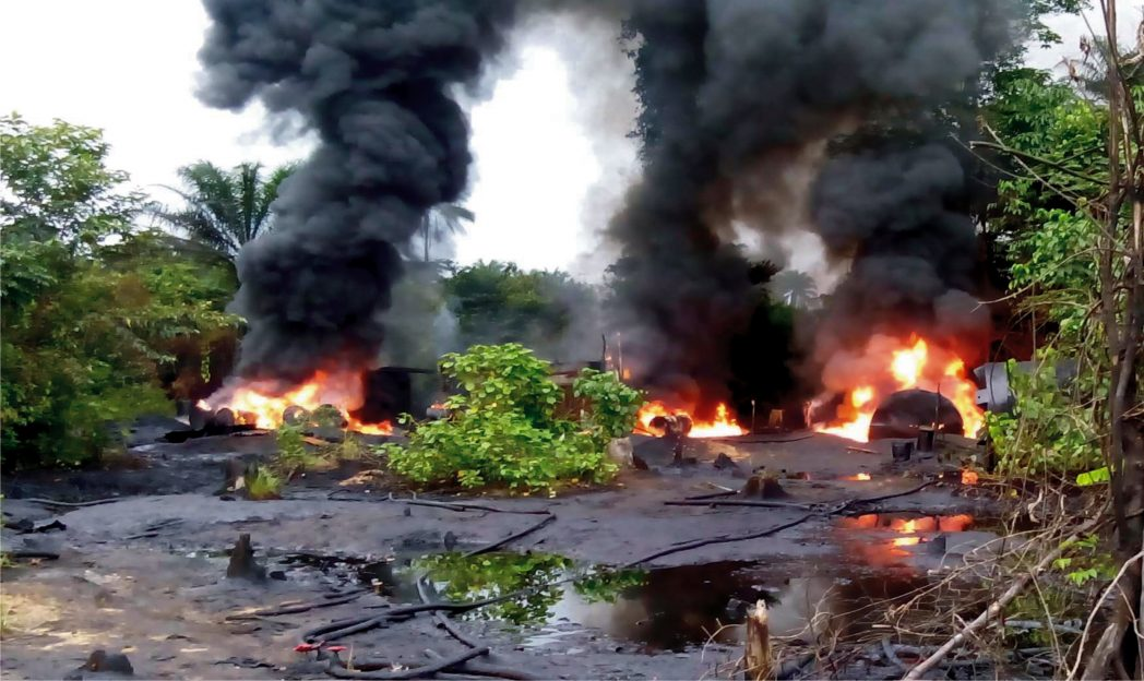 Illegal Refineries being destroyed by Naval Officers in Warri recently