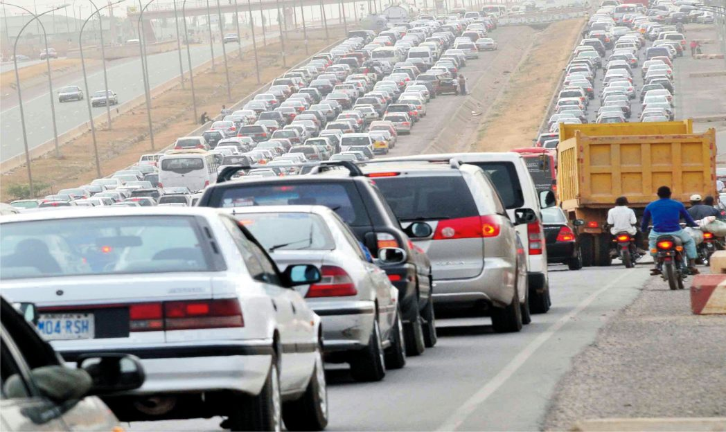 Traffic gridlock on Kubwa-Abuja Expresway in Abuja yesterday.