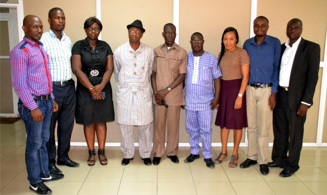Director/ Deputy Editor,  Mr Donald Mike-Jaja (4th left),  who represented the General Manager  and Director (GS) RSNC, Mr Chris Orji (middle) in a group photo with Junior Chamber International (JCI) exco, during their official visit to the corporation last Monday