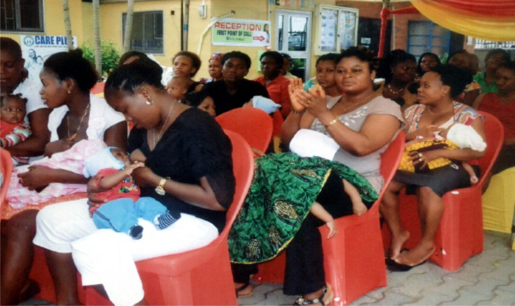 Mothers breast-feeding their babies at Obio Cottage Hospital in Port Harcourt.