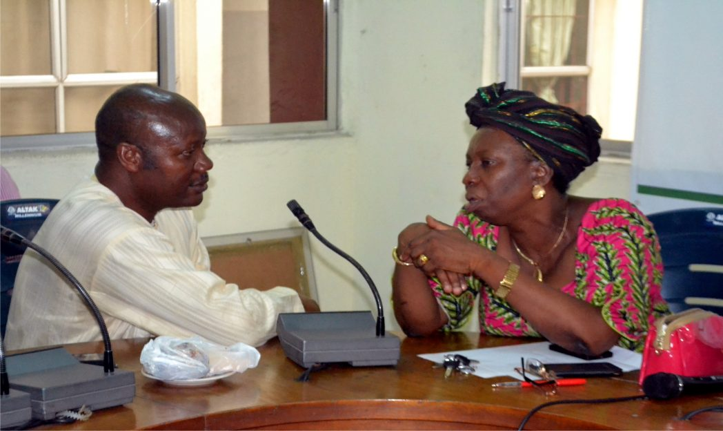 Resident Electoral Commissioner, Rivers State, Dame Gesila Khan explaining a point to Mr Opaka Dokubo, chairman NUJ,  Rivers State Council on a courtesy visit to the Commission, recently in Port Harcourt.