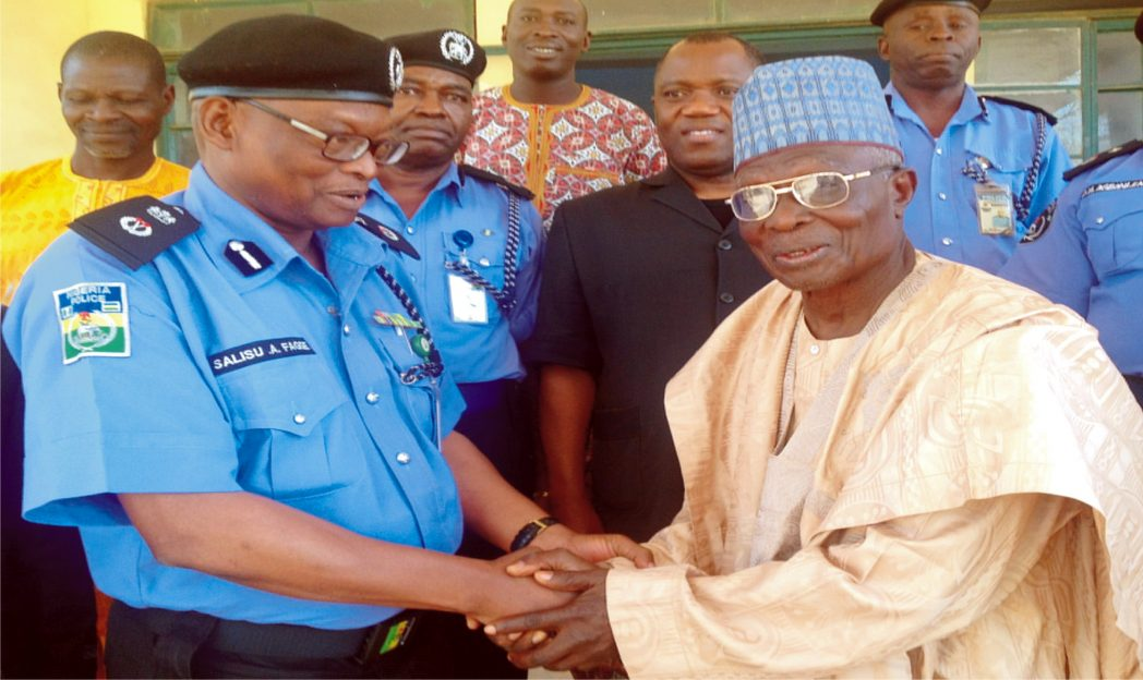 Commissioner of Police, Sokoto State, Alhaji Salisu Fage welcoming the Chairman, Christian Association of Nigeria (CAN), Sokoto State Chapter Rev. Ahmadu Manman, during the visit of CAN leadership to State Police Command headquarters in Sokoto, yesterday.