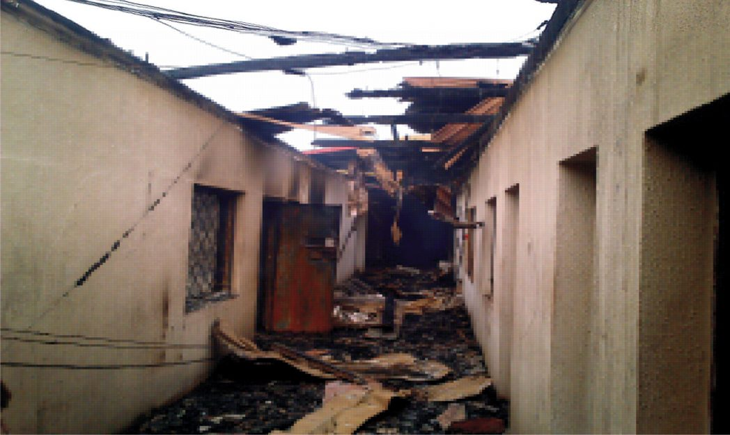 The Accounts Section of Ebonyi House of Assembly  engulfed by fire in Abakaliki, yesterday.