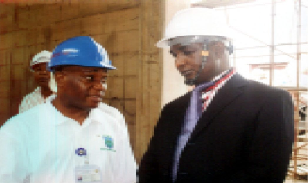 Permanent Secretary, Ministry of Information and Communications, Mr. Sam Woka (right0 with his counterpart, Ministry of Transport counterpart, Nuka Nadum Nwikpasi,  at the inspection of  the monorail project in Port Harcourt last Wednesday.