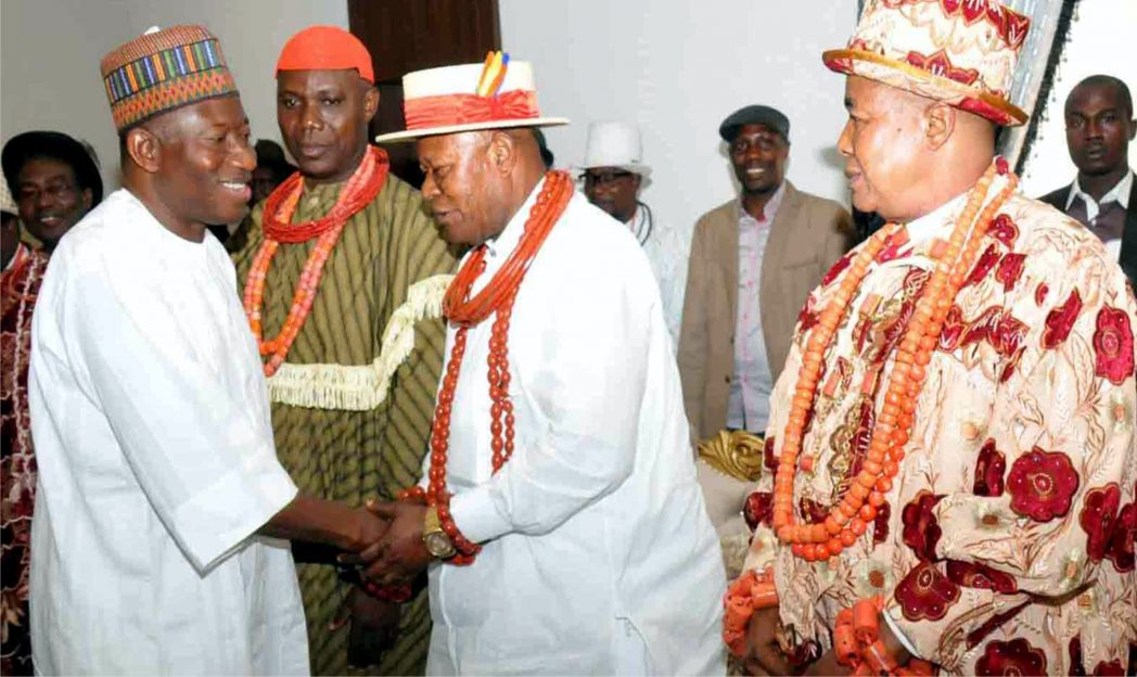 President Goodluck Jonathan (left), being received by leaders of the Ijaw Group, during their meeting with the President in Asaba last Friday.