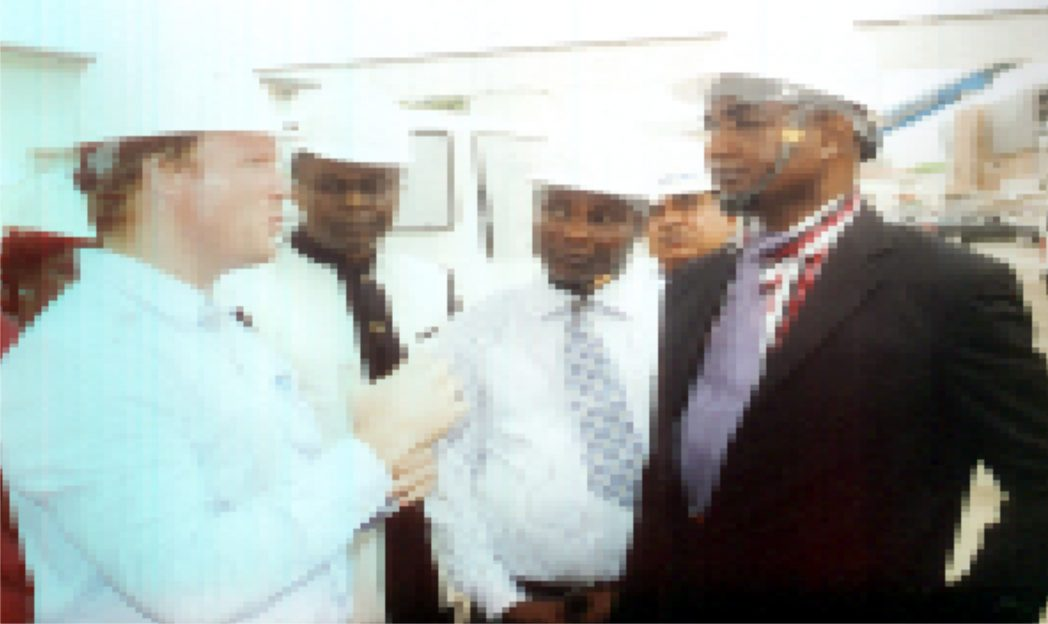 Permanent Secretary Ministry of Information and Communication, Sam Woka (right) listening to the Engineer Railway, Calvyn Scholtz (left) during inspection of monorail at UTC Station, on 25th February 2015. With them are Director of Ministry of Information and Communication, Pastor Paulinus Nsirim 2nd (left) and other guest. Photo: Prince Obinna Dele