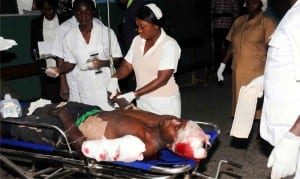 A victim of a bomb blast at Bauchi Road Motor Park in Jos, Plateau, State receiving treatment at the Plateau State Specialist Hospital last  Friday