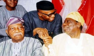 From Left: Afenifere Leader, Pa Reuben Fasaranti;  Governor Olusegun Mimiko of Ondo State and Chief Richard Akinjide, at a Post National Conference Summit  on 2015 elections and the Yoruba Nation  in Ibadan last Thursday.