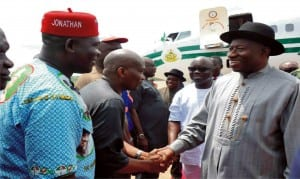President Goodluck Jonathan (right),  Governor Emmanuel Uduaghan of Delta State (2nd right), Rep. Ndudi Elumelu (2nd lef) and others, welcoming President Jonathan  at  Asaba  Airport recently.