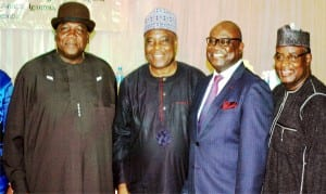 L-R:   Supervising Minister, Ministry of Information, Chief Edem Duke, Chairman Emeritus, Daar Communications,  Dr Raymond Dokpesi, new chairman, Advertising Practitioners Council of Nigeria (APCON), Governing Council, Mr Udem Ufot and APCON Registrar,  Alhaji Garba Kankarofi,  at the inauguration of the 6th Governing Council  of the agency in Lagos, yesterday.