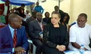 Commissioner for Water Resources and Rural Development, Hon Patricia Simon-Hart, (2nd right) listening to the Director General, Rivers State Water Services Regulatory Commissioner (RSWSRC), Mr Chris Obasiolu (left) representative of the Governor of the State and Commissioner for Budget and Economic Planning, Hon Gogo Charles (right) at official flag off of the RSWSRC in Port Harcourt recently.  Photo: Chris Monyanaga