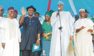 L-R: Former Fct Minister, Malam Nasir El-rufai, Governor Chibuike Amaechi of Rivers State, his wife, Judith, Apc presidential candidate, General Muhammadu Buhari and Apc National Chairman, Chief John Oyegun, at the Apc South-South Zonal rally in  Port Harcourt last Thursday.