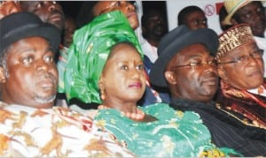 L-R: Sen. George Sekibo; Rivers PDP Deputy Governorship candidate, Mrs Ipalibo Banigo;Director-General, Rivers PDP Governorship Campaign Organisation, Amb. Desmond Akawa and former President, Port Harcourt Chamber of Commerce, Industries, Mines and Agriculture, at the Rivers Ijaw Peoples Summit in Port Harcourt, yesterday