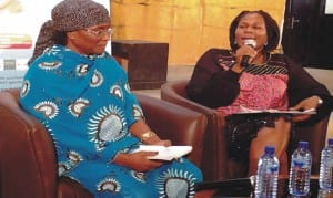 """Project Director, Port Harcourt World Book Capital, Mrs Koko Kalango (r) and author of the book, """"The Virtuous Woman"""", Profeasor Zaynab Alkali, at the presentation of the 12th """"Book of the Month"""" in Port Harcourt.       Photo by Sogbeba Dokubo."""